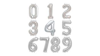 Permalink zu:Zahlenballon in Silber – XXL 40″/102cm